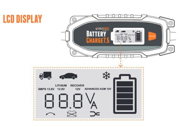 7 Amp Battery Charger LCD Display