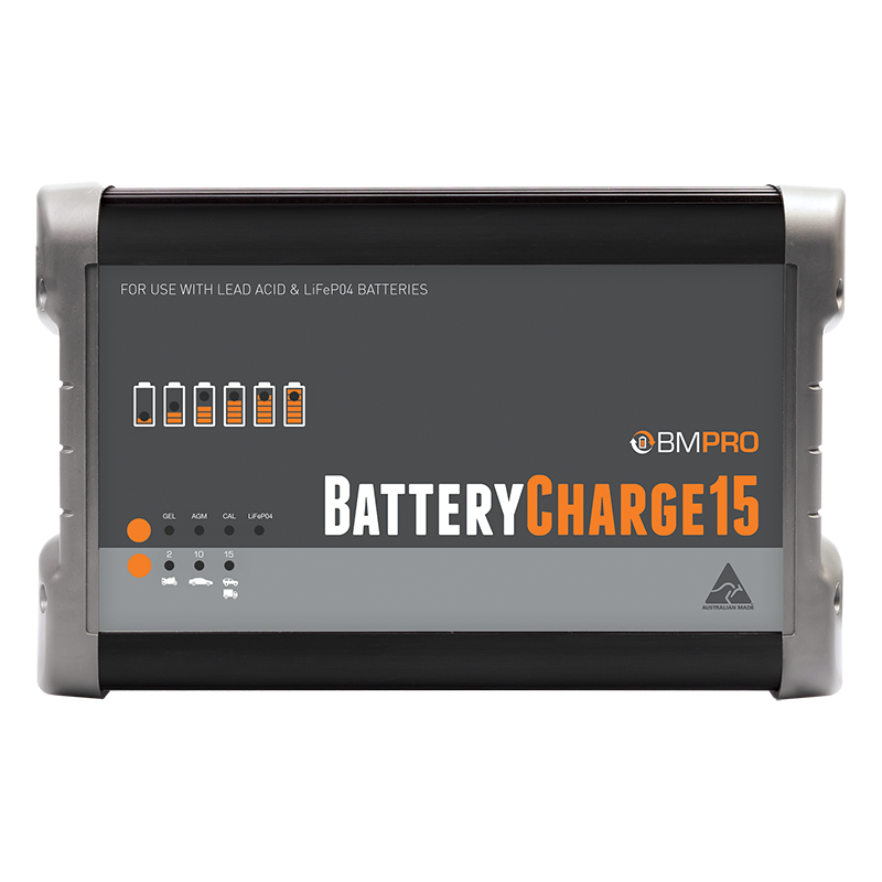 BatteryCharge15 15A battery charger for lead acid and LiFePO4 batteries