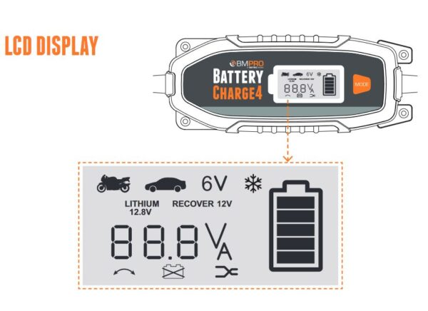 12V battery charger LCD display