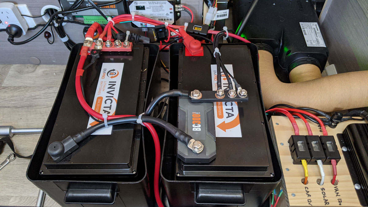 BC300 and MiniBoostPRO install to charge and monitor lithium batteries