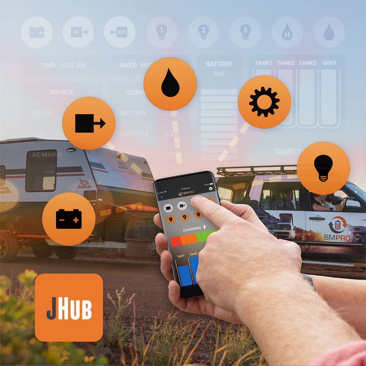 JHub is a complete 12V power management system for Jayco caravans