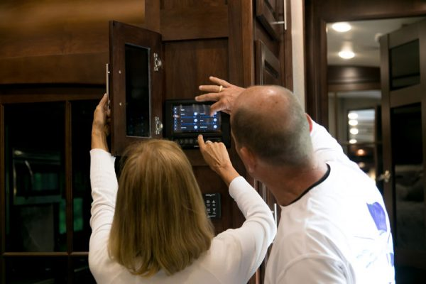 Wall mounted console to control and monitor your RV