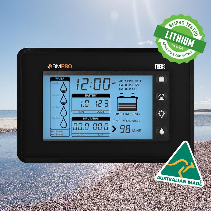 RV battery monitor Trek3 made in Australia