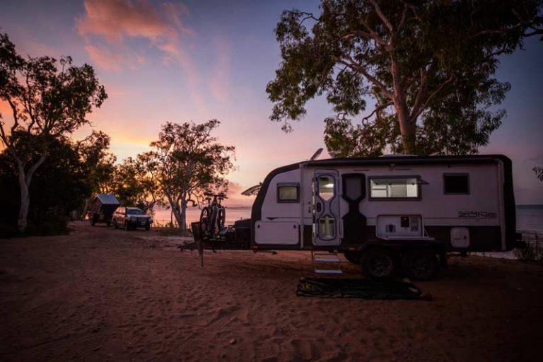 Remote beach camping