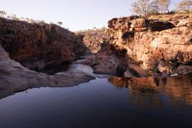 waterhole and rock formations